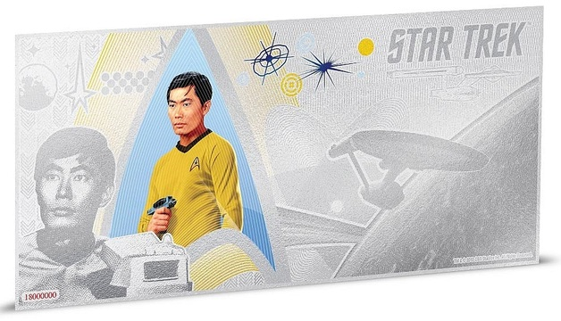 NZ Mint: Star Trek - Silver Coin Note - Lt. Sulu 2018 (5g Silver)