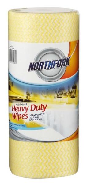 Northfork Heavy Duty Antibacterial Perforated Wipe - Pack of 90
