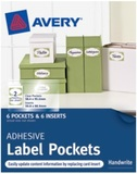 Avery Clear Adhesive Pockets with White Inserts 50.8mm x 88.9mm Pkt6