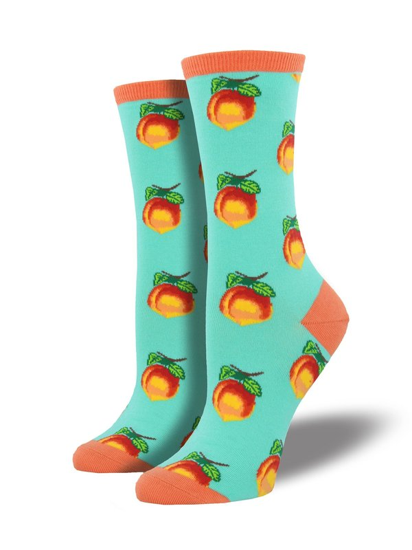 Socksmith: Womens Georgia Peach Crew Socks - Aquamarine