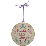 World's Best Mum Embroidered Roundel