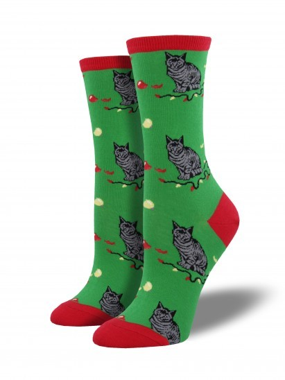 Socksmith: Christmas Cat-astrophy Crew Socks - Green