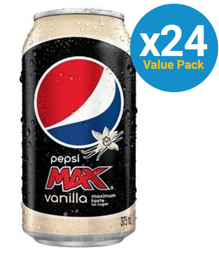 Pepsi Max Vanilla Cans 355ml (24 Pack)