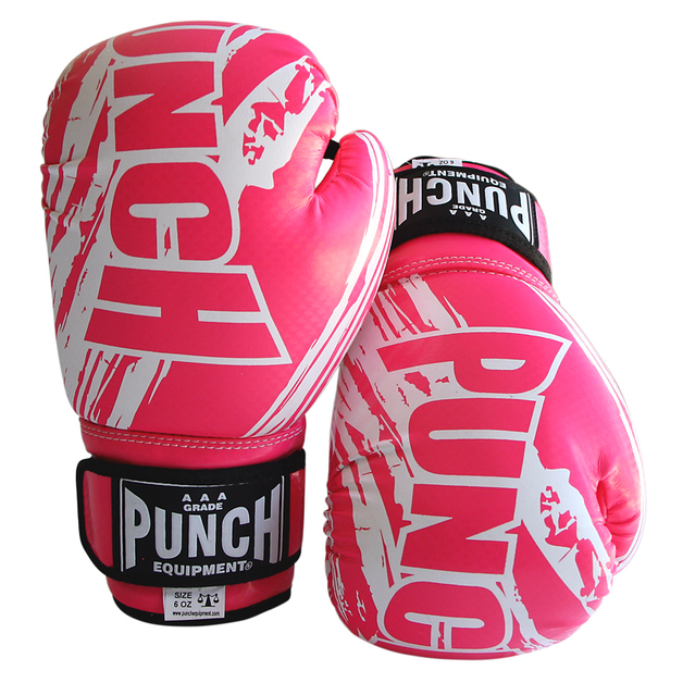 Punch: Fancy Kickboxing Gloves - 16.oz (Hot Pink & White)