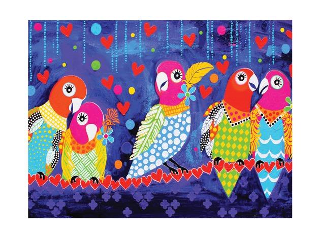 Maxwell & Williams: Love Hearts Tea Towel - Love Birds