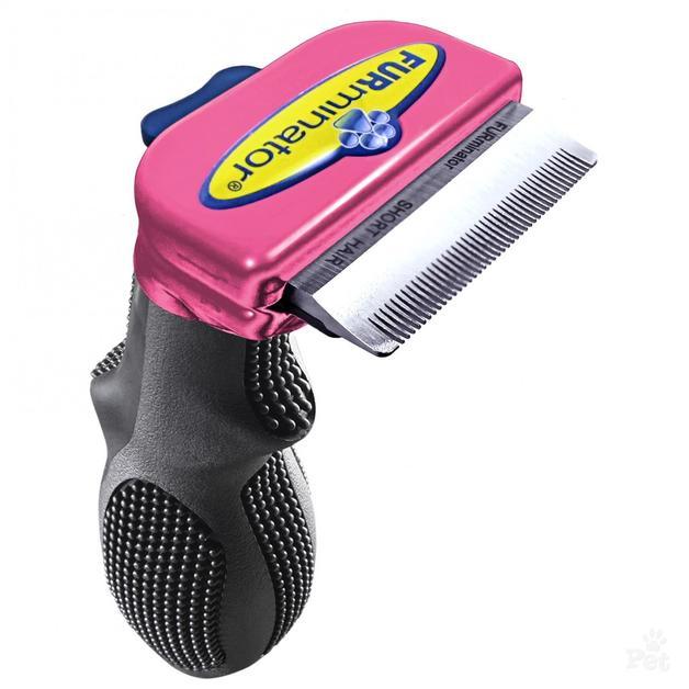 Furminator DeShedding Tool for Cat Small Short Hair (Metallic Pink)