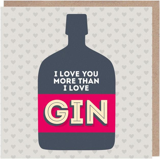 Paper Plane: I Love You More Than Gin Anniversary Love Card