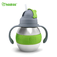 Haakaa: Stainless Steel Thermal Bottle with Straw - Green (280ml)
