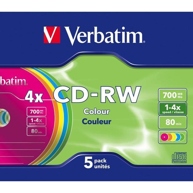 Verbatim CD-RW 700MB Colour Slim Case 2x-4x (5 Pack)