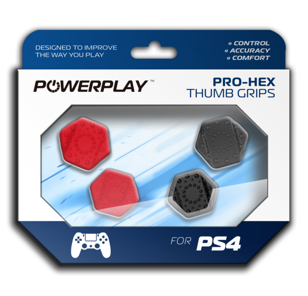 PowerPlay PS4 Pro-Hex Thumb Grips (Red) for PS4