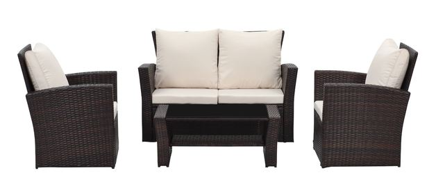 Rattan Wicker Outdoor Sofa Paradise Lounge Set 2 - Beige/Brown