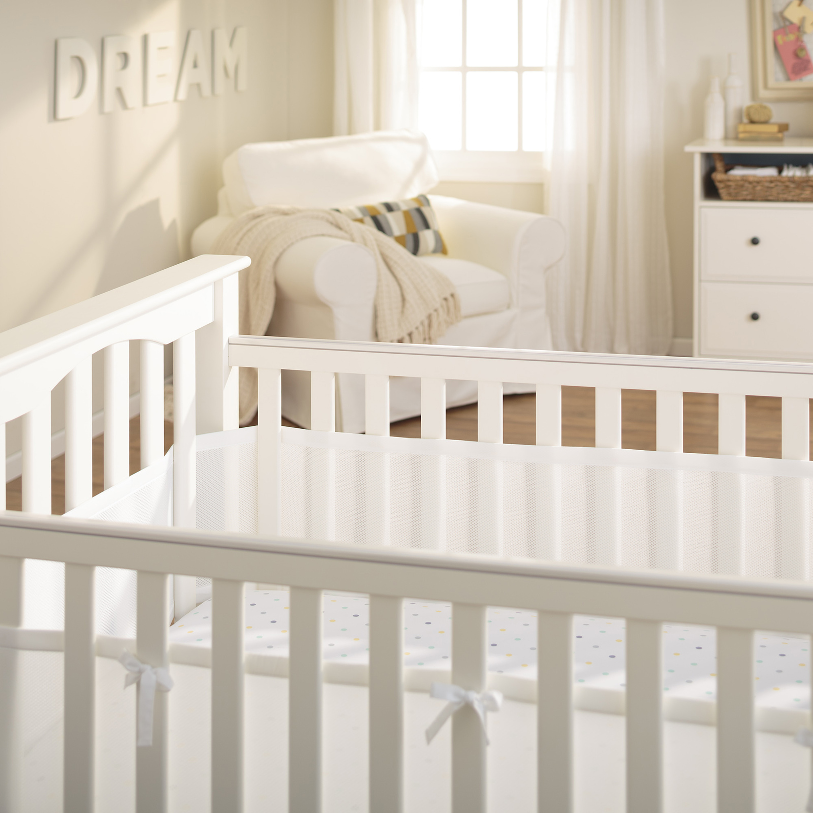 Buy Breathablebaby Breathable Mesh Cot Liner White At