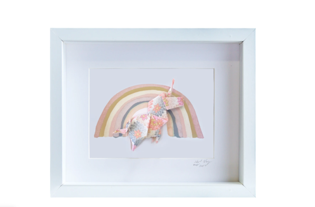 Small White Frame Unicorn (Pink)