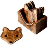 Wooden Fox Coaster Set (6 Pcs)