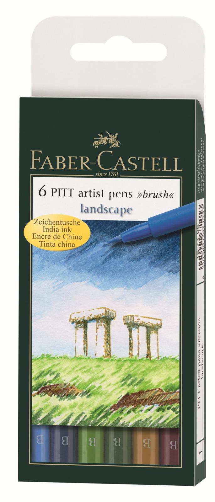 Faber-Castell: Pitt Artist Pens B Landscape (Wallet of 6) image