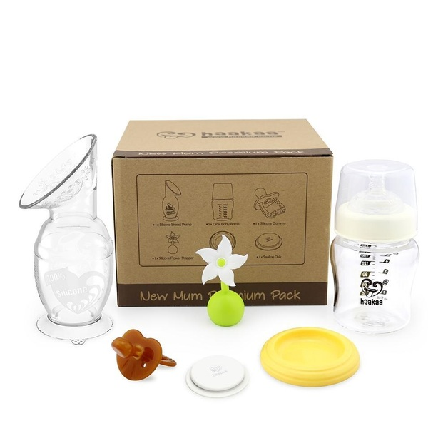 Haakaa: New Mum Premium Pack with 150ml Breast Pump, Glass Bottle, White Flower Stopper