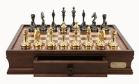"Dal Rossi: Staunton Brass/Titanium - 16"" Chess Set"
