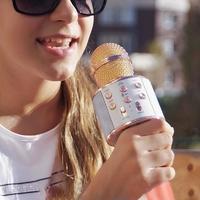 Karaoke Microphone with Bluetooth Speaker - Gold image