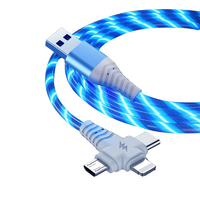 3-in-1 Illuminated Charging Cable - Blue (1m)