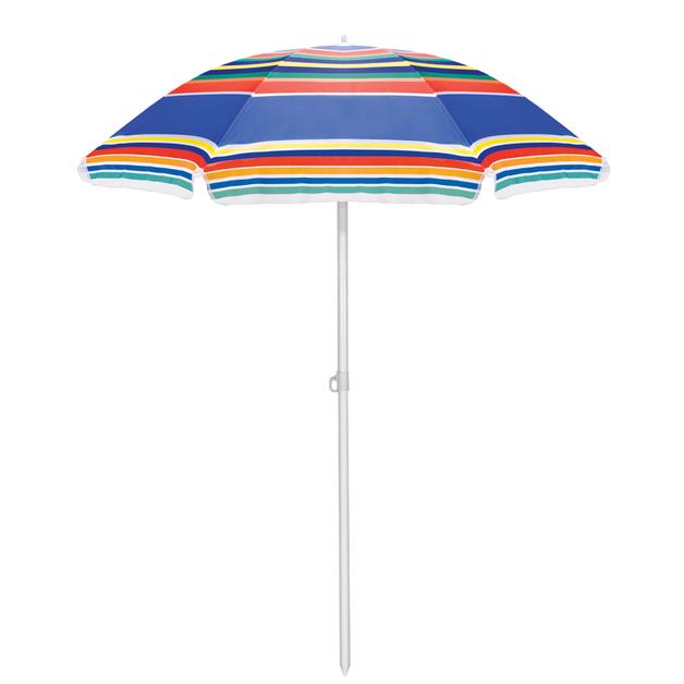 Picnic Time: Portable Beach Umbrella (Multi-Color Stripes)