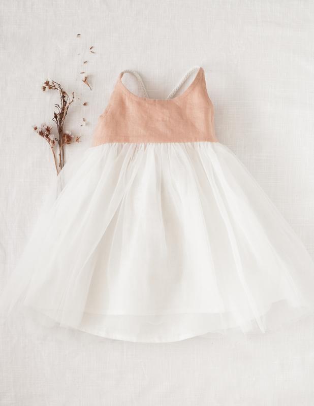 Karibou Kids: Willa Reversible Linen Tutu Dress - Peach Orchard 4YRS