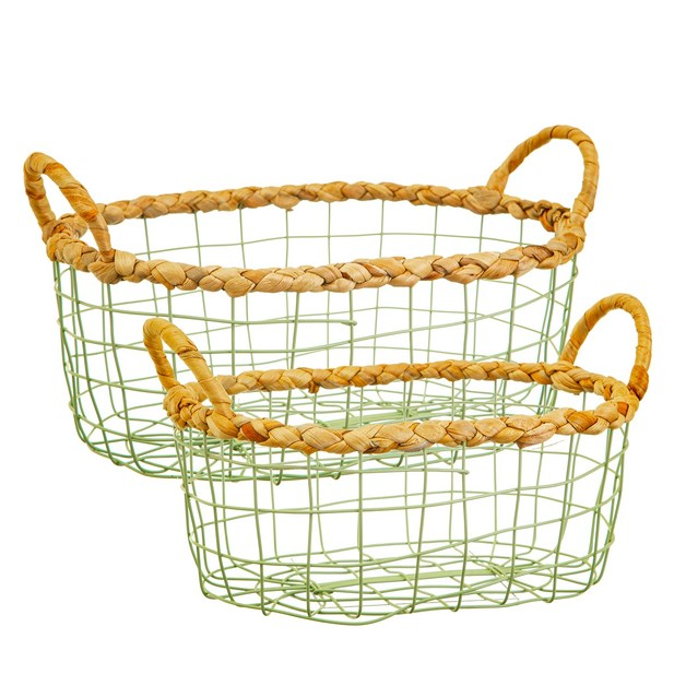 Sass & Belle: Green Wire Storage Basket (Set of 2)