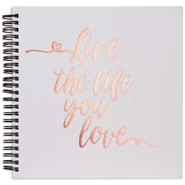 "Rosie's Studio: 8"" x 8"" Spiral Album - Live Laugh Love (Rose Gold/White)"