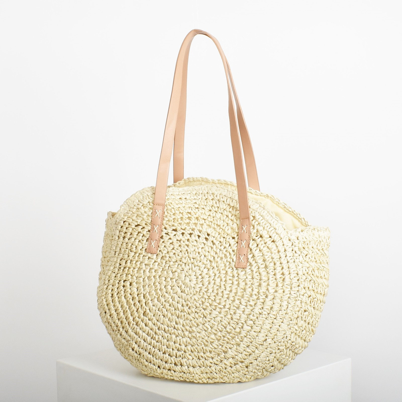 Adorne: Paper Weave Round Tote Bag image