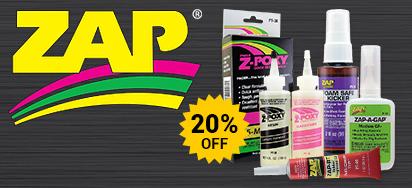 20% off Zap Glues!