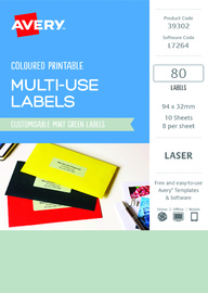 Avery L7264 Multi-Use Labels - Mint Green (10 Sheets/80 Labels)