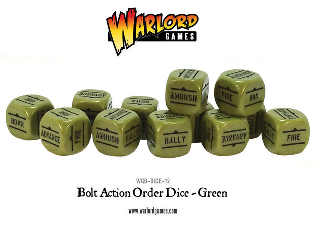 Bolt Action Orders Dice Green (12)