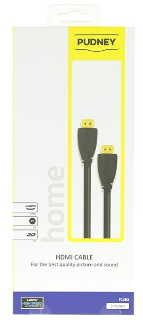Pudney: High Speed Hdmi Cable With Ethernet Plug To Plug - 3 Metre