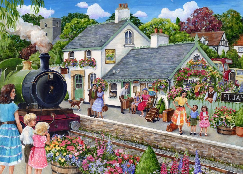 Holdson XL: 500 Piece Puzzle - The English Village S2 (At the Train Station ) image