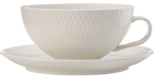 Maxwell & Williams White Basics Diamonds Low Teacup & Saucer (250ml)