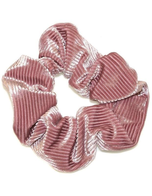 Hepburn & Co: Velvet Corduroy Scrunchie - Venetian Pink