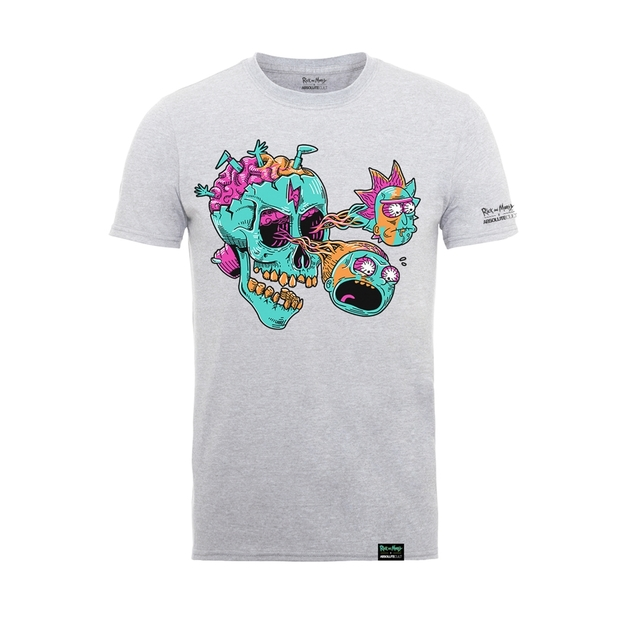 Rick and Morty: Eyeball Skull T-Shirt - Heather Grey (Small)