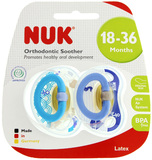 NUK: Classic Happy Kids Latex Soothers - Size 3 (2 Pack) - Blue