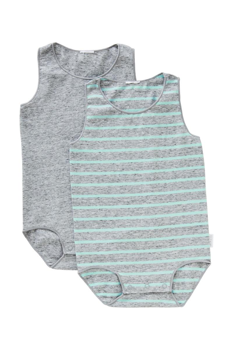 Bonds Wonderbodies Single Suit 2 Pack - Granite Marle and White Stripe/Inked Marle - 12-18 Months image