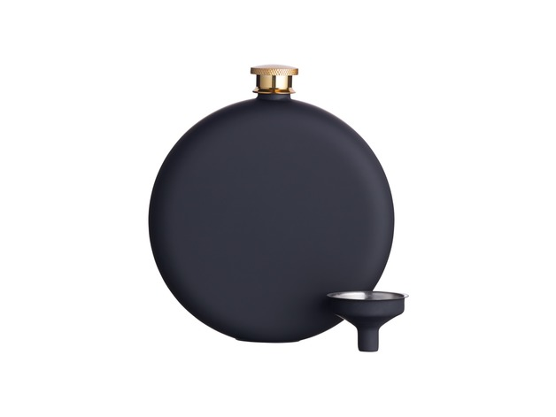 BarCraft: Hip Flask Soft Touch Black - Gift Boxed (350ml)