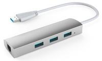 Wavlink USB 3.0 3-Port Aluminium Hub with Gigabit LAN – Titanium Silver