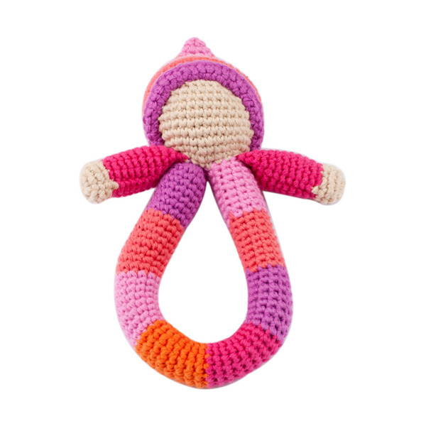 Pebble: Pixie Ring Rattle - Pink