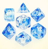 Chessex Signature Polyhedral Dice Set Nebula Blue/White