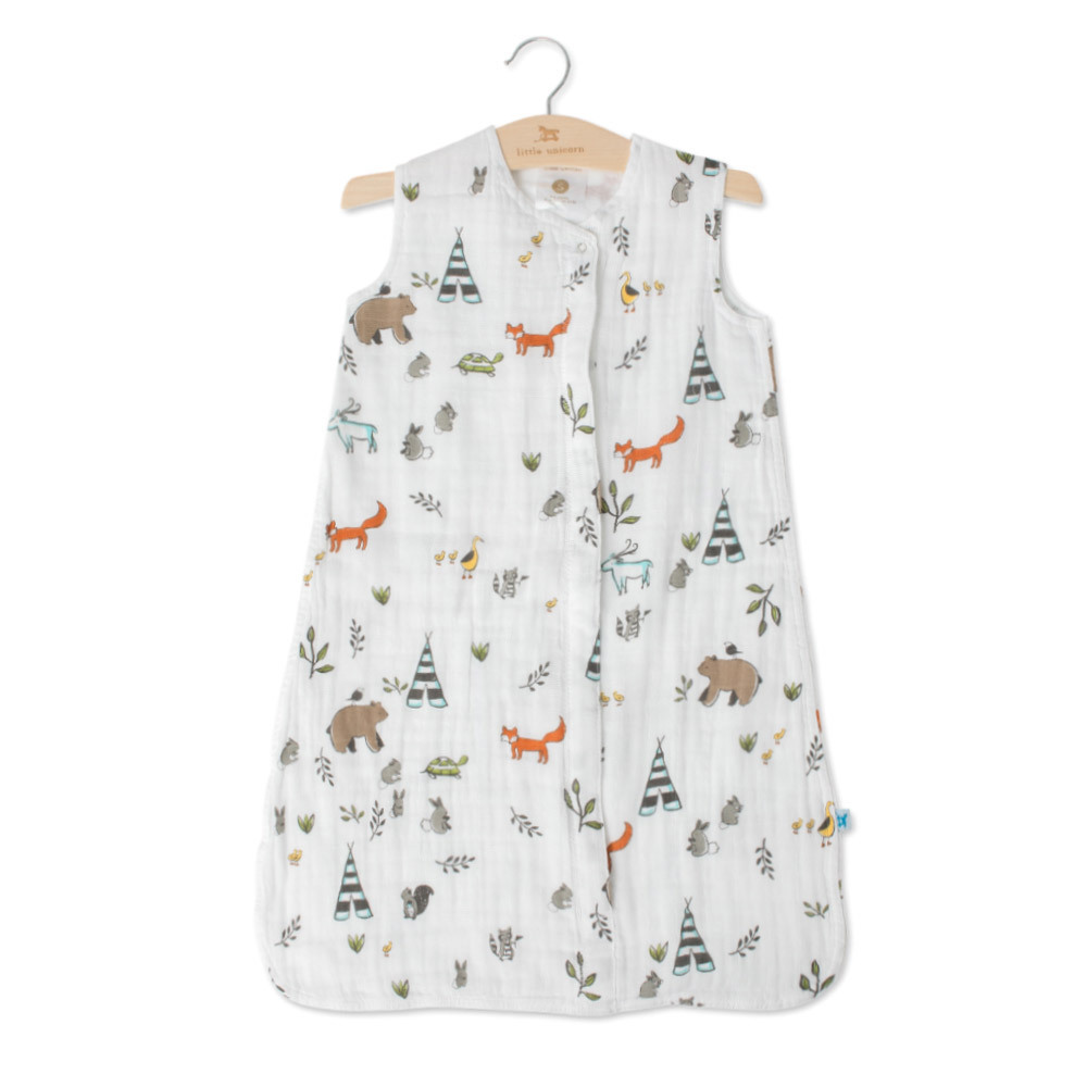 Little Unicorn - Cotton Muslin Sleeping Bag - Forest Friends (Small 0-6mth) image
