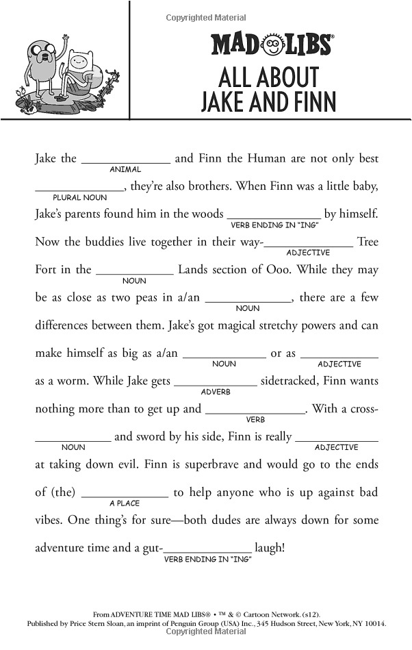 Adventure Time Mad Libs (Word Game)