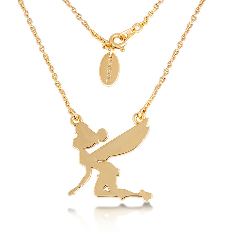 Disney: Junior Tinker Bell Silhouette Necklace - Yellow Gold image