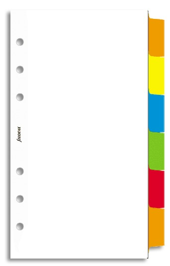 Filofax - Personal Blank Index with Multi-Coloured Labels (Six Tabs) - White
