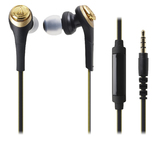 Audio-Technica Solid Bass In-Ear Headphones with Smartphone Control (Black/Gold)