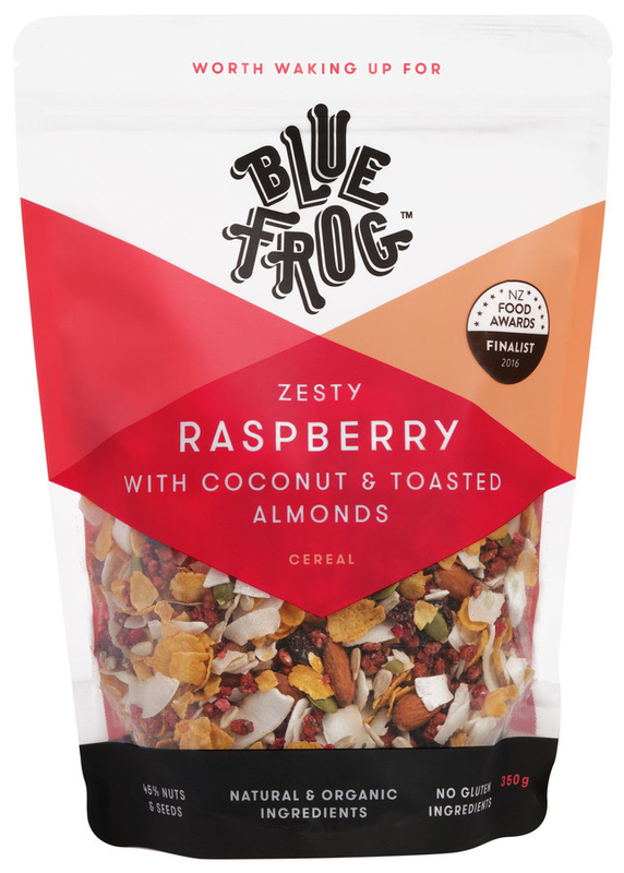 Blue Frog Zesty Raspberry with Coconut & Toasted Almonds 350g