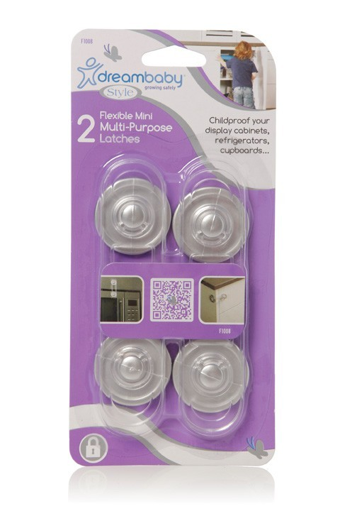 Dreambaby Mini Multi-Purpose Latch (Silver) - 2 Pack