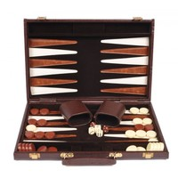 "Backgammon 15"" Alligator Skin Case - Brown"